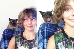 Camren Bicondova with her cat, Mr G